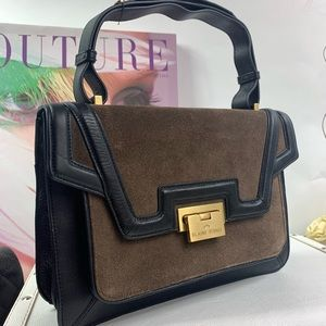 Elaine Turner Black/brown leather handbag.